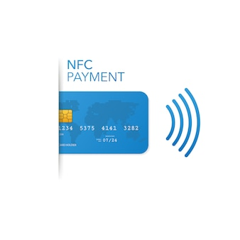 Contactless credit card with radio wave outside sign, credit card payment
