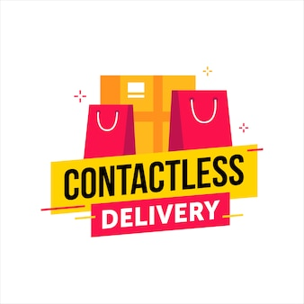 Contactless delivery background with shopping bags and box