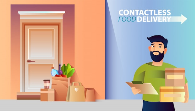 Contactless delivery banner with bearded male character, boxes, paper bags