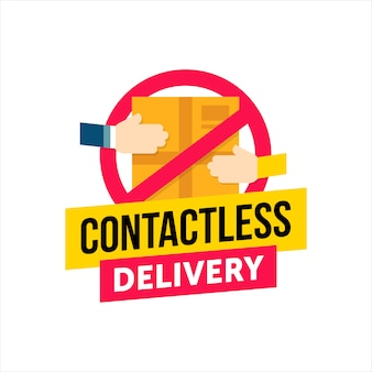 Contactless delivery.   concept of contact free to protect form virus quarantine when ordering goods.