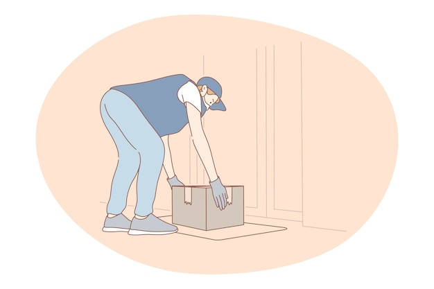 非接触型配送、宅配便、オンライン注文のコンセプト。保護の若い男宅配便配達員