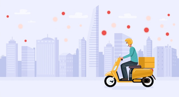 Contactless delivery. delivery man wearing face mask riding scooter with