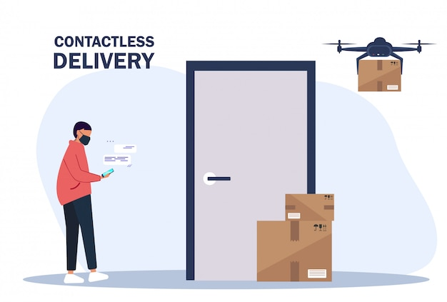 Contactless delivery. the drone delivers boxes. deliver a man brings boxes and puts them near the door of the apartment. contactless express delivery service.