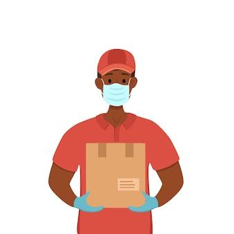 コロナウイルスベクターコンセプトの予防中の非接触配信。ボックス漫画イラストを保持している医療マスクと手袋のクーリエ男。 covid-2019。非接触の安全なサービス検疫。