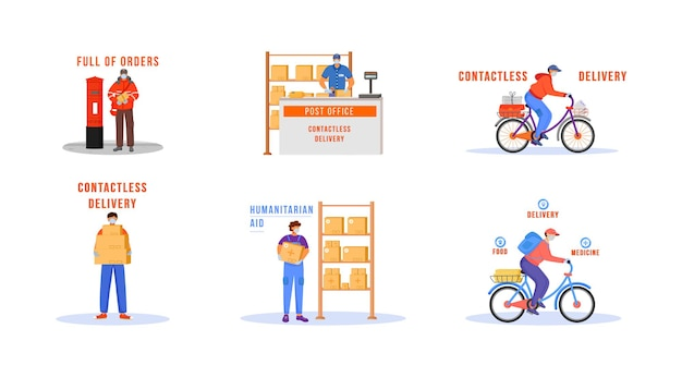 Contactless delivery flat color vector faceless characters set. man shipping goods during pandemic. deliveryman in medical mask. essential worker isolated cartoon illustrations on white background