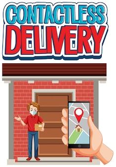 Contactless delivery logo with hand using smartphone and delivery man