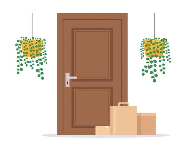 小包のドアへの非接触配達。宅配便による食品・商品のご注文のコンセプトです。 Premiumベクター
