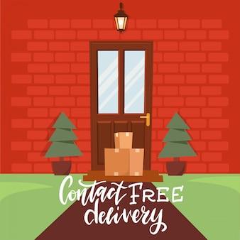 Бесконтактная доставка. пакет находится рядом с дверью в дом. товар доставляется до двери. оставайтесь дома концепции. карантин и профилактика распространения коронавируса. плоская иллюстрация