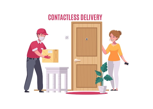 Contactless delivery service with courier and customer cartoon illustration