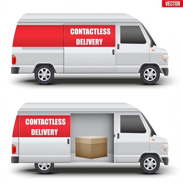 Бесконтактный фургон с посылкой