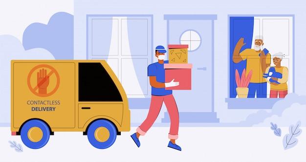 집이나 아파트 문에 비접촉식으로 주문 배달. 의료 마스크와 장갑을 착용 한 택배가 주문을 전달합니다. 고령자들은 검역소에 집에 앉아 창 밖을 내다 본다