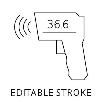 체온 측정을 위한 비접촉 적외선 온도계. 의료용 디지털 비접촉 체온계. 총 온도계 아이콘입니다. 웹 페이지, 모바일 앱, 프로모션용 픽토그램. 편집 가능한 스트로크. 벡터