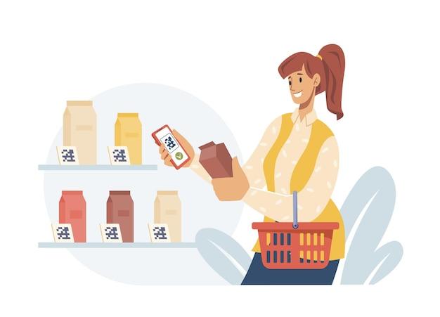 슈퍼마켓에서 우유를 들고 바구니를 들고 있는 qr 여성의 비접촉식 지불은
