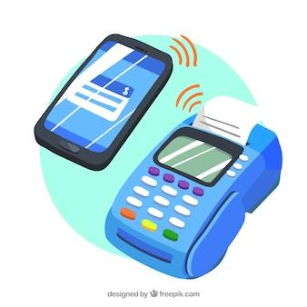 Бесконтактный платеж и смартфон с забавным стилем