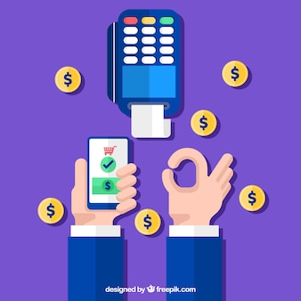 Contactless payment and coins with flat design