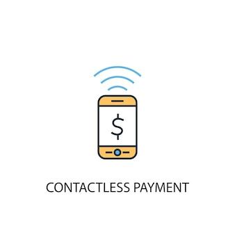 비접촉 결제 개념 2 컬러 라인 아이콘입니다. 간단한 노란색과 파란색 요소 그림입니다. 비접촉식 지불 개념 개요 기호 디자인