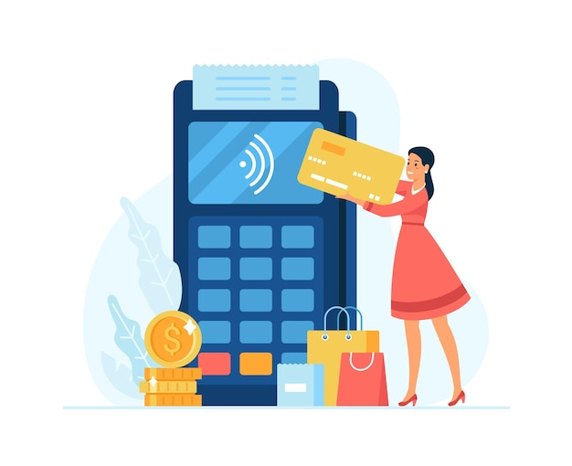 Contactless payment concept flat vector illustration