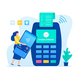 Contactless payment concept with woman character.