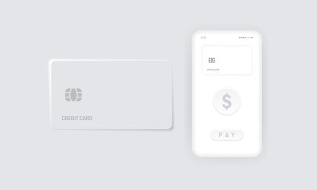 비접촉식 결제 아이콘입니다. nfc. 신용 카드. 스마트 폰과 무선 pos 단말기 현실적인 스타일. 벡터 eps 10입니다. 배경에 고립.