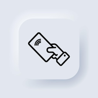 Contactless payment icon. wireless pay. nfc icon. credit card. neumorphic ui ux white user interface web button. neumorphism. vector illustration