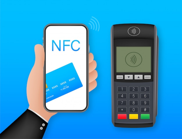 Contactless payment methods mobile smart phone and wireless pos terminal realistic style.   illustration
