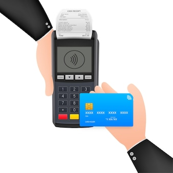 Contactless payment methods mobile smart phone and wireless pos terminal realistic style. vector stock illustration.