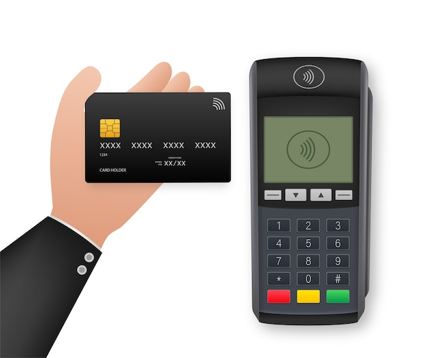 Contactless payment methods mobile smart phone and wireless pos terminal realistic style