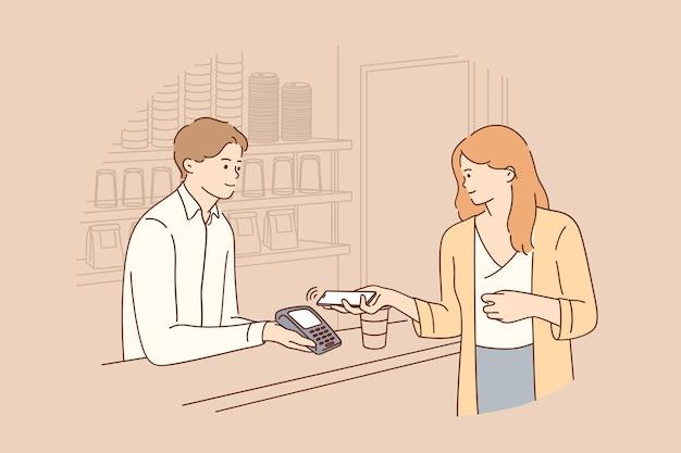 非接触型決済のオンライン取引の概念