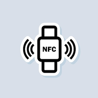 Contactless payment sticker. nfc bracelet connected to smartphone icon. nfc phone synchronized with smartwatch. wireless payment. contactless cashless icon. vector on isolated background. eps 10.