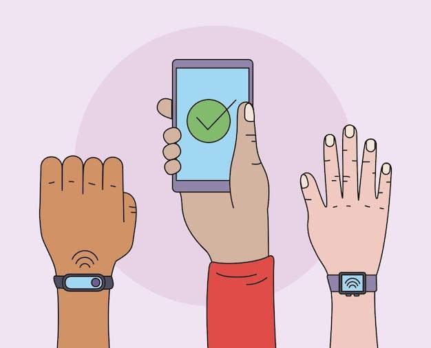비접촉 결제 세 사용자 손