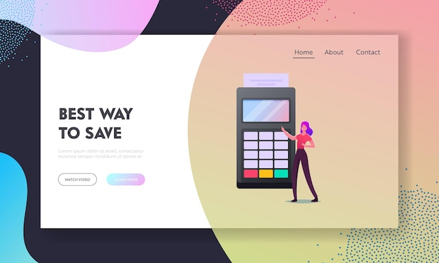 Contactless payment with credit card reader machine landing page template