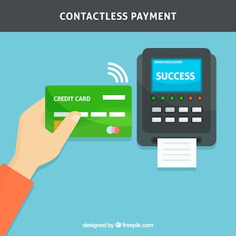 Contactless payment with hand holding credit card