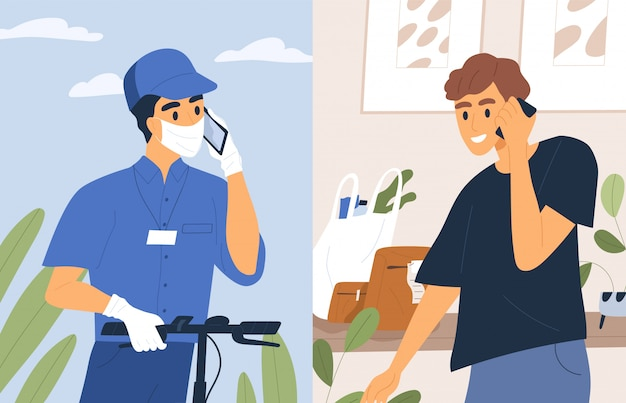 Contactless shipment service flat illustration. male courier in medical mask and gloves talk phone with customer.