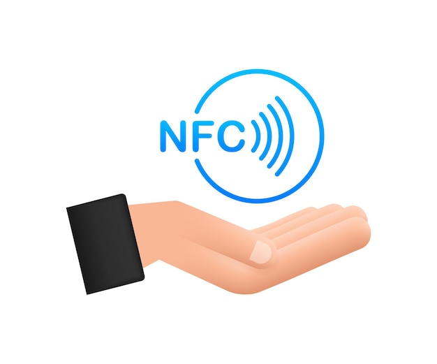 Contactless wireless pay sign in hands logo. nfc technology. vector stock illustration.