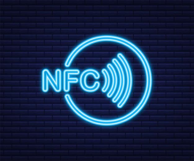 비접촉 무선 지불 표시 로고. 네온 아이콘입니다. nfc 기술. 벡터 재고 일러스트 레이 션.