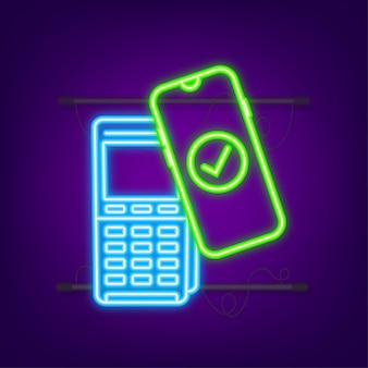 Contactless wireless pay sign logo. nfc technology. neon icon. vector illustration.