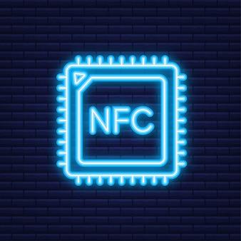 비접촉 무선 지불 표시 로고. nfc 기술. 벡터 일러스트 레이 션. 네온 아이콘입니다.
