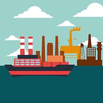 컨테이너 및 유조선 선박 공장 석유 산업