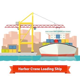 Контейнерный грузовой корабль, загруженный большим портовым краном