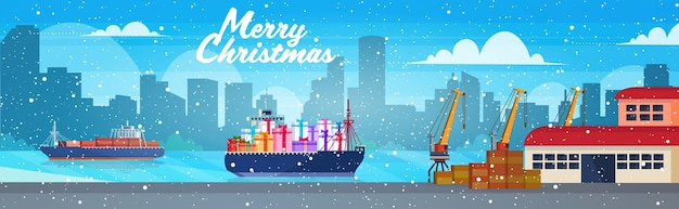 Container cargo ship with gift present boxes logistic ocean transportation sea port concept christmas new year winter holidays celebration