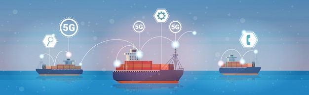 Container cargo ships sea ocean transportation 5g online wireless systems connection concept
