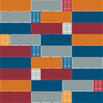 Container logistics and transportation pattern. vector illustration.