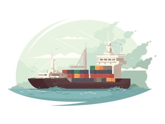 바다 또는 바다에서 컨테이너 선박화물 운송