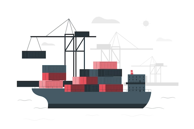 Container ship concept illustration