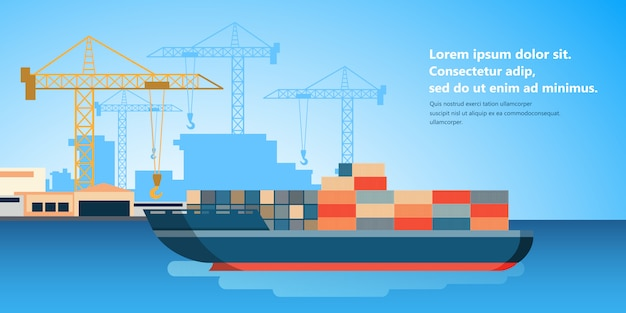 Container ship at freight port terminal unloading