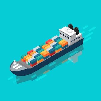 等角図でのコンテナ船。ベクトルイラスト