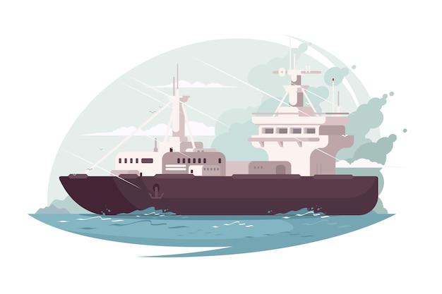 Контейнеровоз в океане. большой корабль на морских волнах