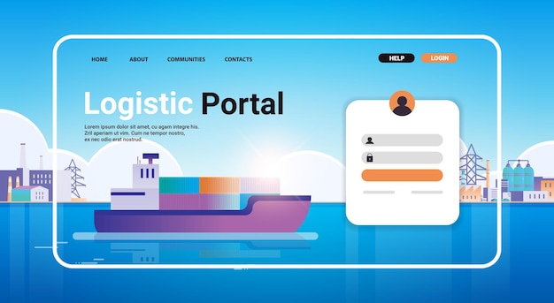 Container ship loading in sea port website landing page template cargo logistics freight transportation concept horizontal copy space vector illustration