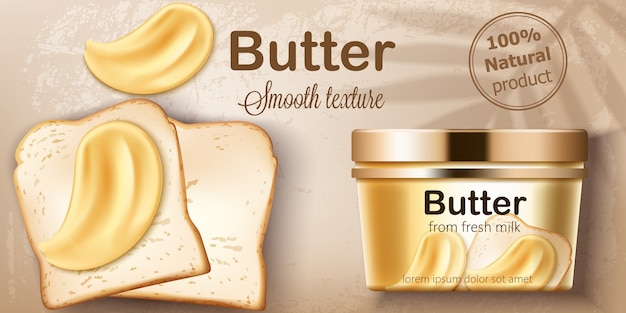 신선한 우유로 만든 천연 버터가 담긴 용기. 구운 빵에 뿌려줍니다. 자연스러운 부드러운 질감. 텍스트를 놓습니다. 현실적