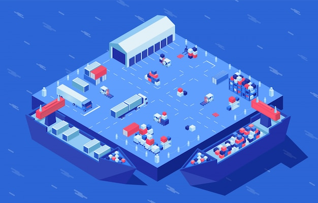 Container yard isometric vector illustration. freight transport, merchandise and industrial cargo at logistics hub. marine commerce, goods distribution and storage service, shipment delivery service